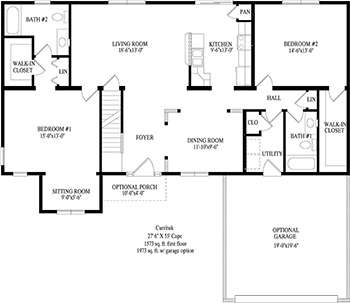 Currituk cape style modular homes for Westport homes ranch floor plans