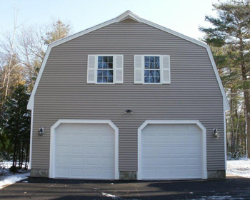 Gambrel style garages from gbi avis for Prefab gambrel roof trusses